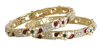 Stone and Pearl Studded Bangles