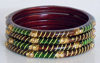Four Red with Green Bangles