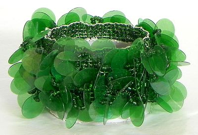 Dark Green Sequin Stretch Bracelet