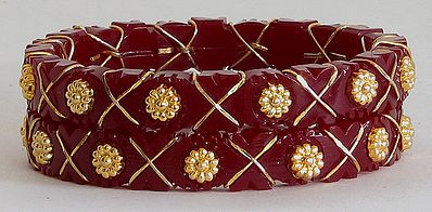 Two Gold Plated Red Bangles