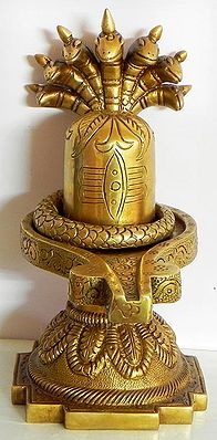 Shiva Linga with Seven Hooded Serpent