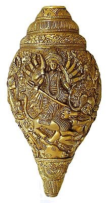Goddess Durga Slaying Mahishasura with Her Family Sculpted On Brass Conch - Wall Hanging