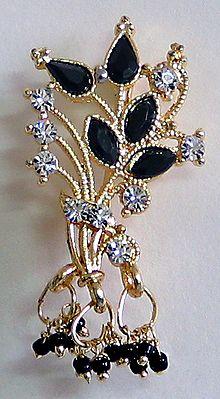 Black and White Stone Studded Designer Brooch