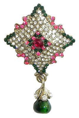 Faux Ruby, Emarald, White Zirconia Studded Diamond Shaped Brooch
