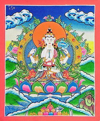 Four-Armed Avalokiteshvara - Thangka Painting