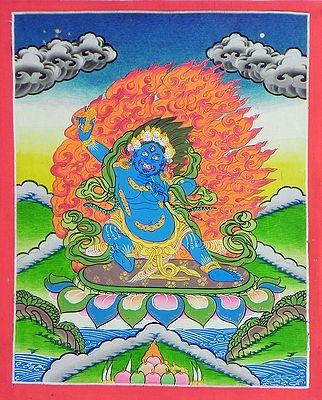 Blue Mahakal - Thangka Painting