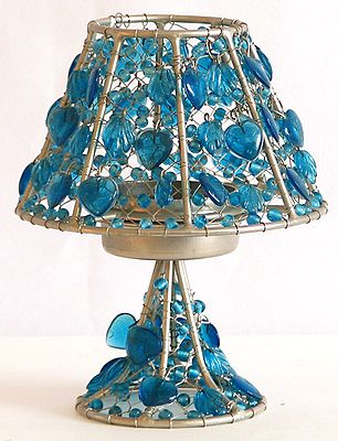 Metal and Blue Bead Candle Stand
