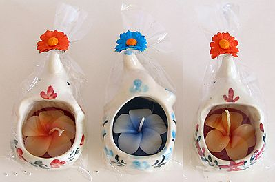 Three Elephant Candle Holder with Candles
