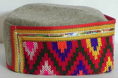 Multicolor Border Himachali Woolen Cap