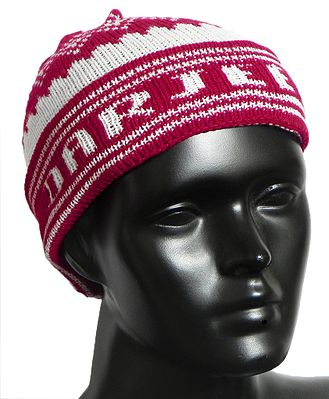 Red and White Ladies Woolen Cap