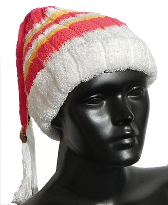 White, Red and Yellow Striped  Ladies Woollen Cap