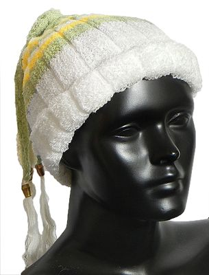 White, Green and Yellow Striped  Ladies Woolen Cap