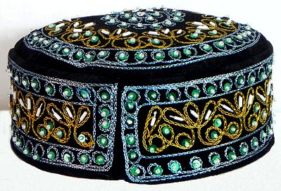 Black Muslim Prayer Cap with Bead and Sequin Embroidery