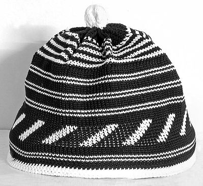 Black with White Knitted Muslim Prayer Cap