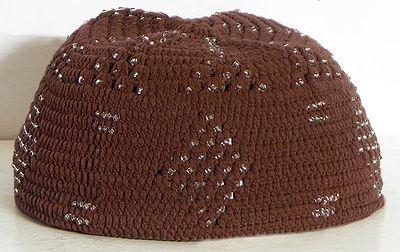 Brown Knitted Muslim Prayer Cap