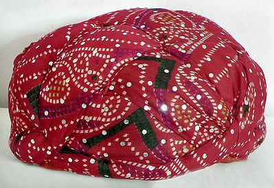 Rajasthani Pre Stitched White Tie and Dye Red Turban