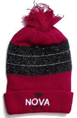 Red with Black Unisex Woollen Cap
