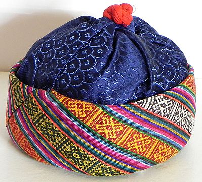 Multicolor with Blue Sikkimese Lepcha Cap