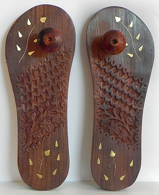 Wood Carved Paduka with Brass Inlay