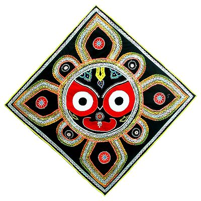 Appliqued Jagannathdev Face Decorated with Mirror Work and Zari Ribbon on Black Velvet Cloth - (Wall Hanging)