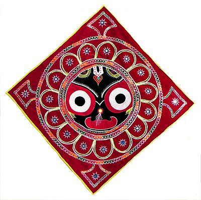 Appliqued Face Of Jagannath Dev On Velvet Cloth 33 X 33