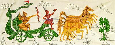 Krishna Taking Arjuna's Chariot to Kurukshetra War - (Wall Hanging)