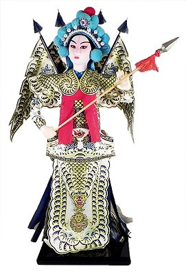 Chinese Opera Character Doll in White Printed Dress