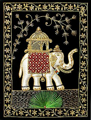 Multicolor Thread and Zari Embroidered Royal Elephant on Black Velvet Background