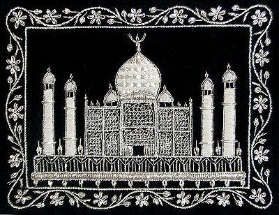 White Thread and Zari Embroidered Taj Mahal on Black Velvet Background