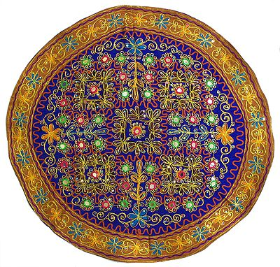 Multicolor Thread and Zari Embroidery on Purple Background and Yellow Border with Mirror and Sequined Work - (Circular Wall Hanging)