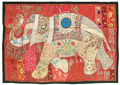 Elephant Patchwork on Cloth and Enhanced with Mirrorwork, Zari, Sequins and Beadwork