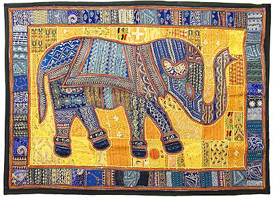 Elephant Patchwork on Cloth and Enhanced with Mirrorwork