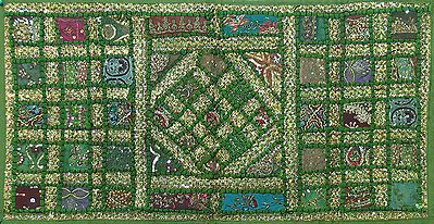 Patchwork on Green Cloth and Enhanced with Zari Works, Sequins and Beadwork