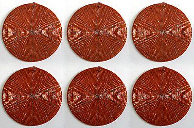 Dark Saffron Beaded Small Round Coasters - Set of Six