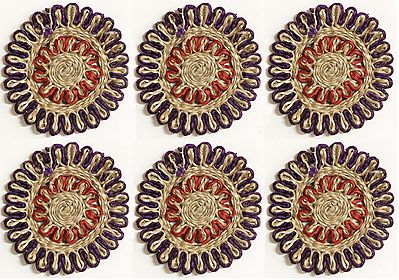 Jute Small Round Coasters - Set of Six