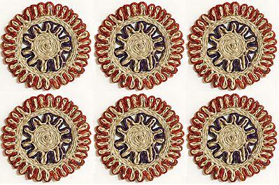 Jute Small Round Coasters - Set of Six
