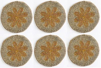 Silver and Golden Beaded Small Round Coasters - Set of Six