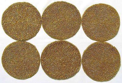 Six Plain Round Beaded Cloth Coasters