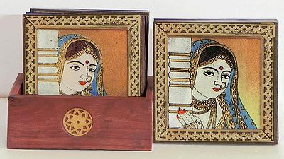 Six Square Wooden Coasters and Holder with Crushed Real Gemstone Rajput Beauty Painting