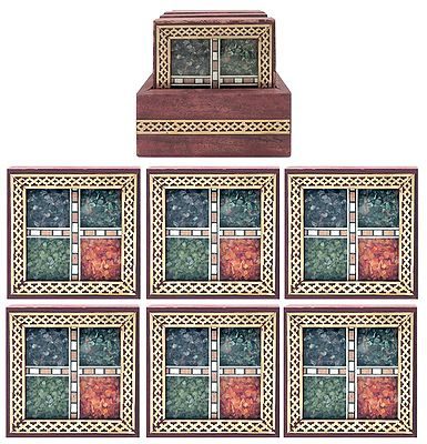 Set of 6 Gemstone Chips Coasters with Holder