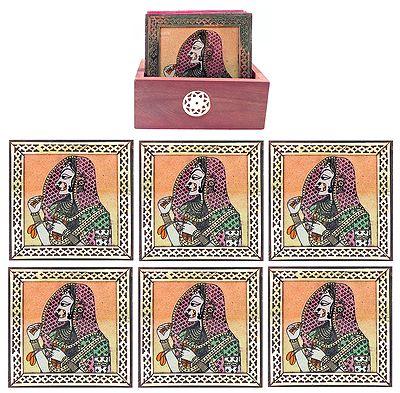Six Gemstone Bani Thani Painting Coasters with Holder