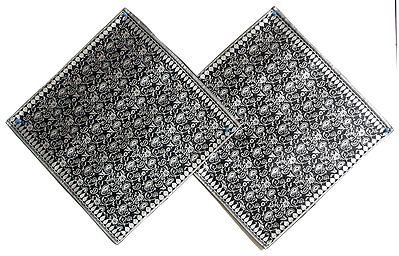 Black and White Kashmiri Design Brocade Cushion Covers - Two Pieces