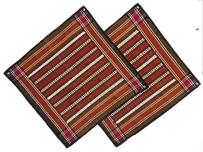Two Pieces Black with White and Red Weaved Cushion Covers