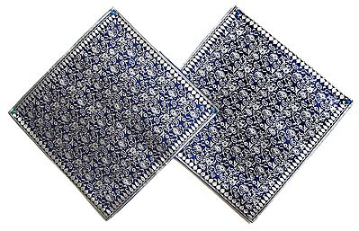 Dark Blue and WhiteKashmiri Design Brocade Cushion Covers - Two Pieces