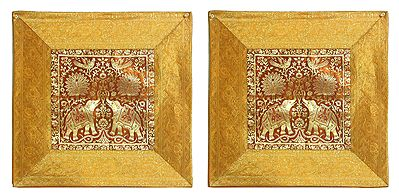 Elephant and Peacock Design Two Pieces Brocade Cushion Covers