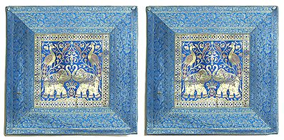 Elephant Peacock Design Two Pieces Brocade Cushion Covers