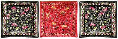Three Pieces Kantha Stitch Cushion Covers