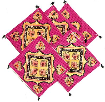 Five Pieces Magenta with Yellow Printed and Embroidered Cushion Covers