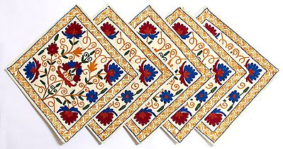 Five Piece Cushion Covers with Kashmiri Embroidery