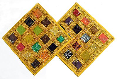 Multicolor Patchwork on Yellow Cushion Covers